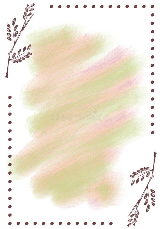 Hand dragen texturerad blom- bakgrund Tappningkort med blommor, sidor, penseldrag vektor illustrationer