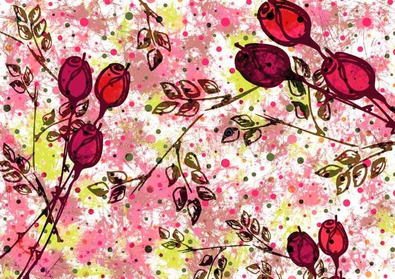 Hand dragen texturerad konstnärlig blom- bakgrund Den idérika tapeten med rosen och sidor i rosa färger färgar dekorativ modell royaltyfri illustrationer