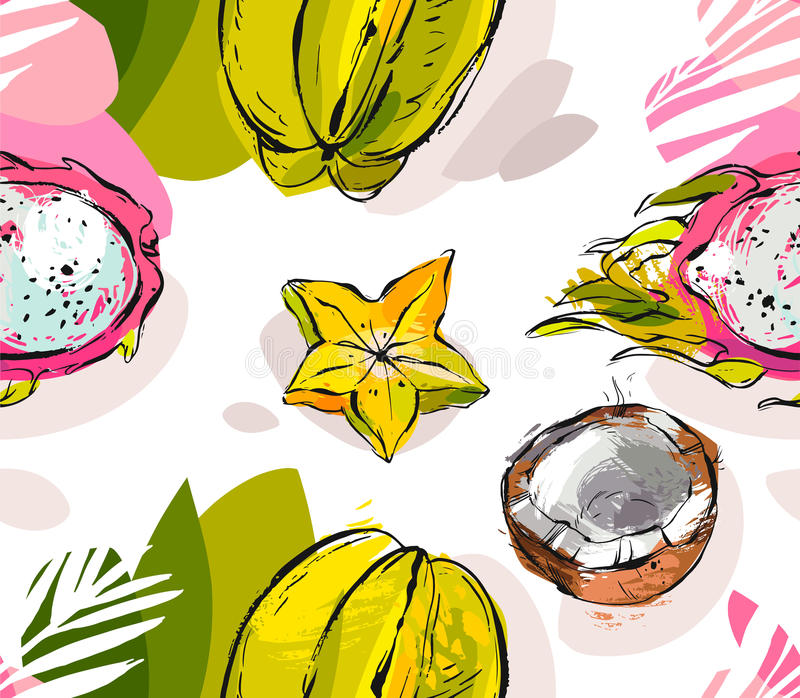 Hand dragen texturerad ovanlig sömlös modell för vektorabstrakt begrepp freehand med exotisk drakefrukt för tropiska frukter, kok vektor illustrationer