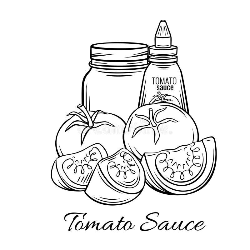 Hand dragen tomatsås, vektor illustrationer