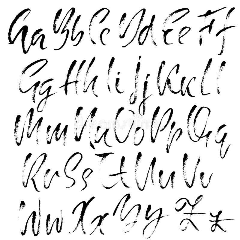 Hand dragen torr borstestilsort Modern borstebokstäver Grungestilalfabet Kalligrafiskrift också vektor för coreldrawillustration royaltyfri illustrationer