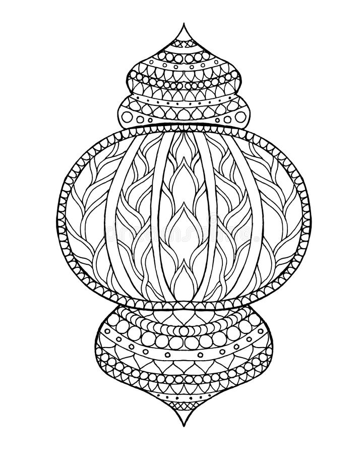 Hand dragen traditionell lykta av Ramadan vektor illustrationer