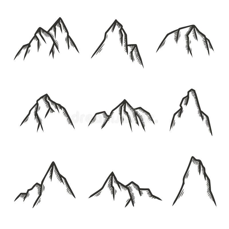 Hand dragen uppsättning av berg Vektortappningillustration vektor illustrationer