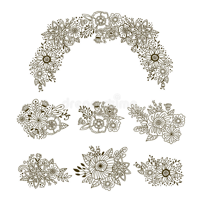 Hand dragen uppsättning av blom- buketter Garnering för vektorprydnadkrans Blomma- och örtklotterbeståndsdelar royaltyfri illustrationer