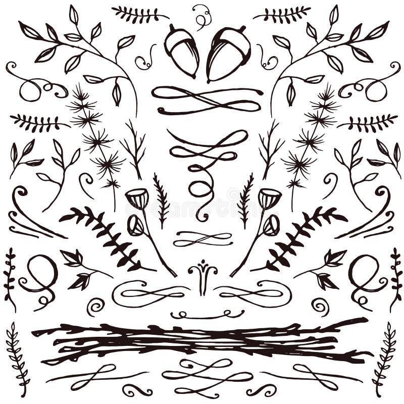 Hand-dragen uppsättning av blom- och krusidullar royaltyfri illustrationer
