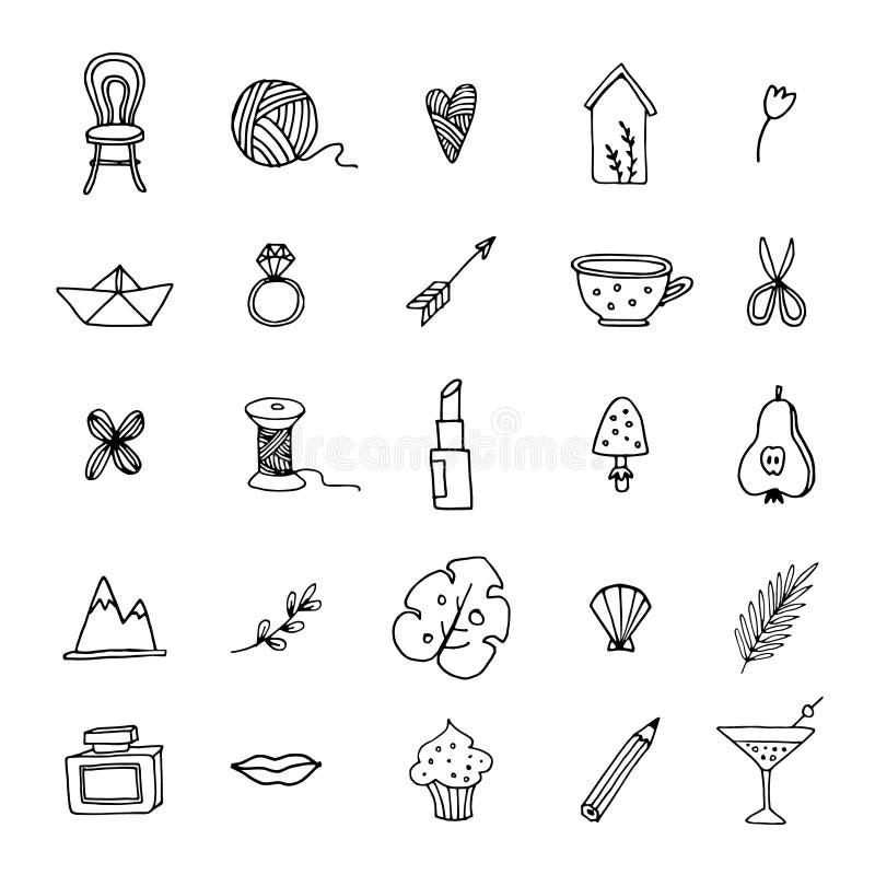 Hand dragen uppsättning av den kvinnliga klotterlinjen symboler Livsstilen blom-, mat och drinken skissar symboler Isolerade vekt royaltyfri illustrationer