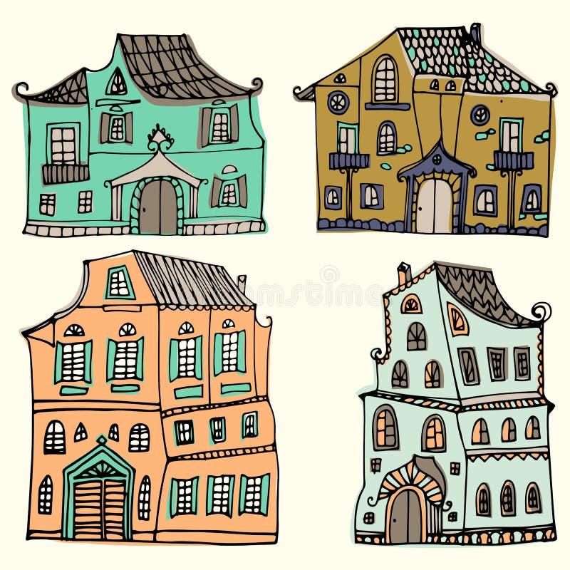 Hand dragen uppsättning av skissade typiska landshus på vit bakgrund Tecknad filmhus Bekläda beskådar Collorful illus stock illustrationer