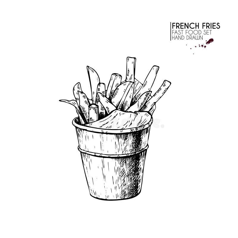 Hand dragen uppsättning av snabbmat Hink av potatisen för franska småfiskar tappning inristad vektorillustration Isolerat på vit  vektor illustrationer