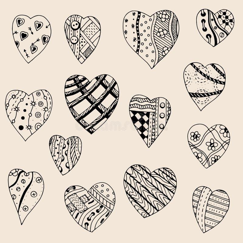 Hand dragen uppsättning av svarta hjärtor vektor illustrationer