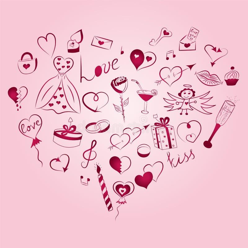 Hand dragen uppsättning av symboler för dag för valentin` s Teckningar för klotter för barn` s roliga av röda hjärtor, gåvor, cir stock illustrationer