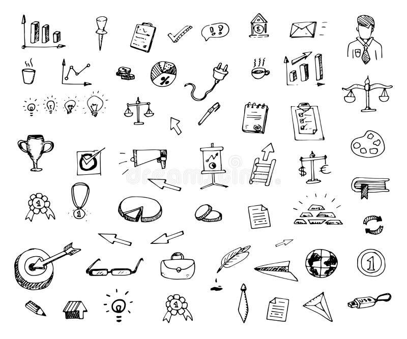 Hand dragen uppsättning för affärssymbolsklotter Skissa stilsymboler dekor vektor illustrationer