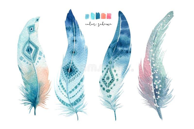 Hand dragen uppsättning för fjäder för vattenfärgmålningar vibrerande Boho stil stock illustrationer