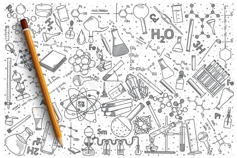 Hand dragen uppsättning för kemivektorklotter royaltyfri illustrationer