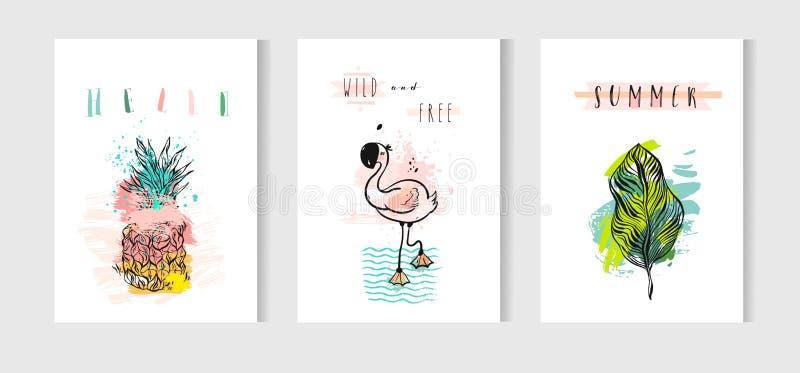 Hand dragen uppsättning för kort för tid för vektorabstrakt begreppsommar med den rosa flamingo, tropiska palmblad, ananas och ro royaltyfri illustrationer