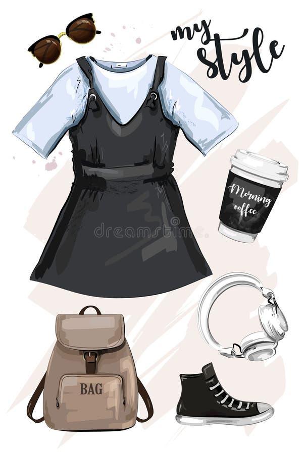 Hand dragen uppsättning för modekläder med ryggsäcken, klänningkaffekoppen, solglasögon, skon och hörlurar Stilfull dräkt stock illustrationer