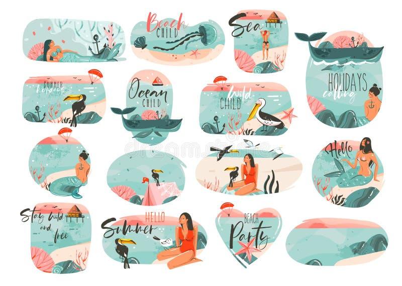Hand dragen uppsättning för samling för abstrakt grafiskt för tecknad filmsommartid för lägenhet tecken för illustrationer stor m royaltyfri illustrationer
