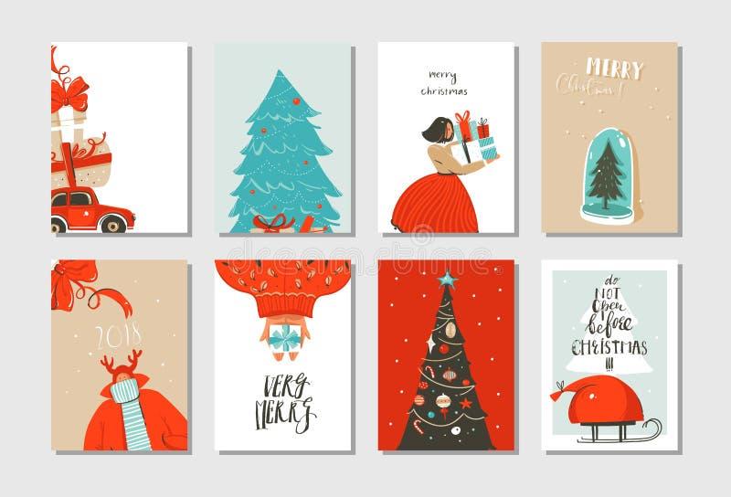 Hand dragen uppsättning för samling för kort för tecknad film för tid för glad jul för vektorabstrakt begrepp rolig med gulliga i stock illustrationer