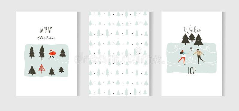 Hand dragen uppsättning för samling för kort för tecknad film för tid för glad jul för vektorabstrakt begrepp rolig med gulliga i royaltyfri illustrationer