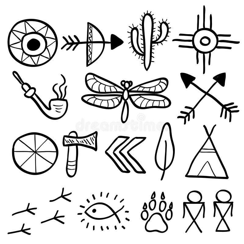 Hand dragen uppsättning för symboler för klottervektorindian stock illustrationer