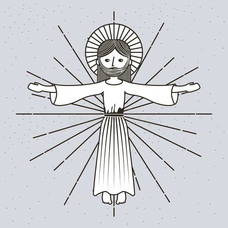 Hand dragen uppstigningjesus christ bild royaltyfri illustrationer