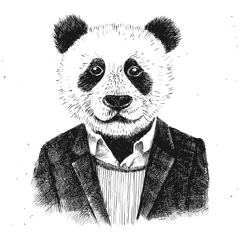 Hand dragen utklädd hipsterpanda royaltyfri illustrationer