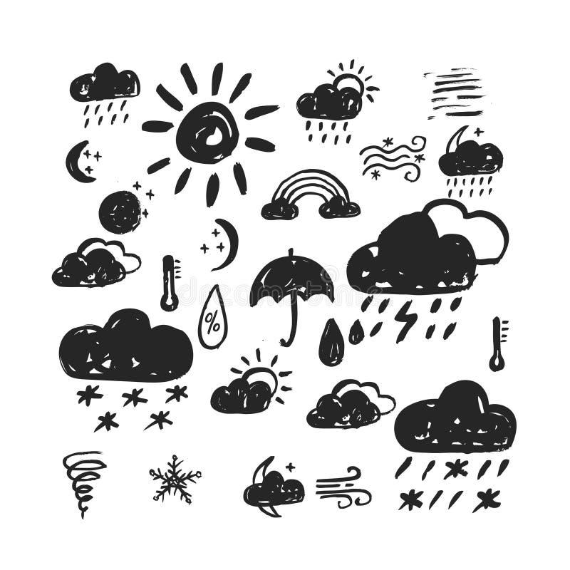 Hand dragen vädersymbol stock illustrationer