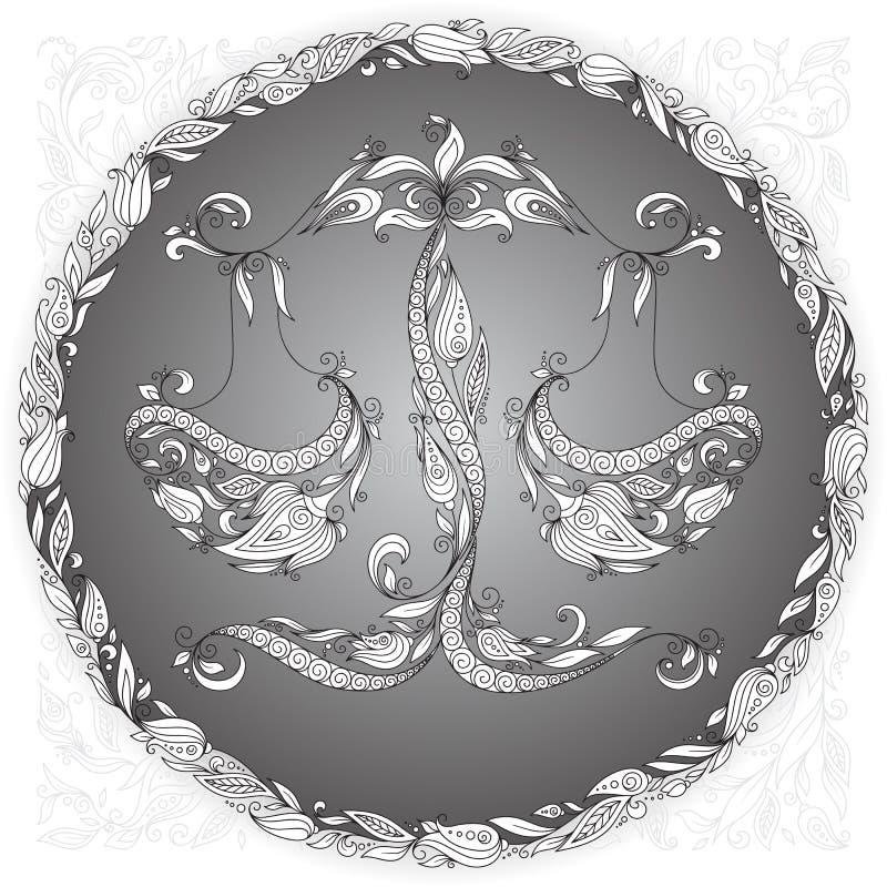 Hand dragen våg i blom- prydnad royaltyfri illustrationer