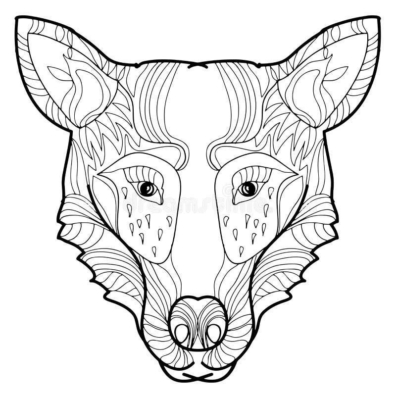 Hand-dragen varg för vektorillustration klotter royaltyfri illustrationer