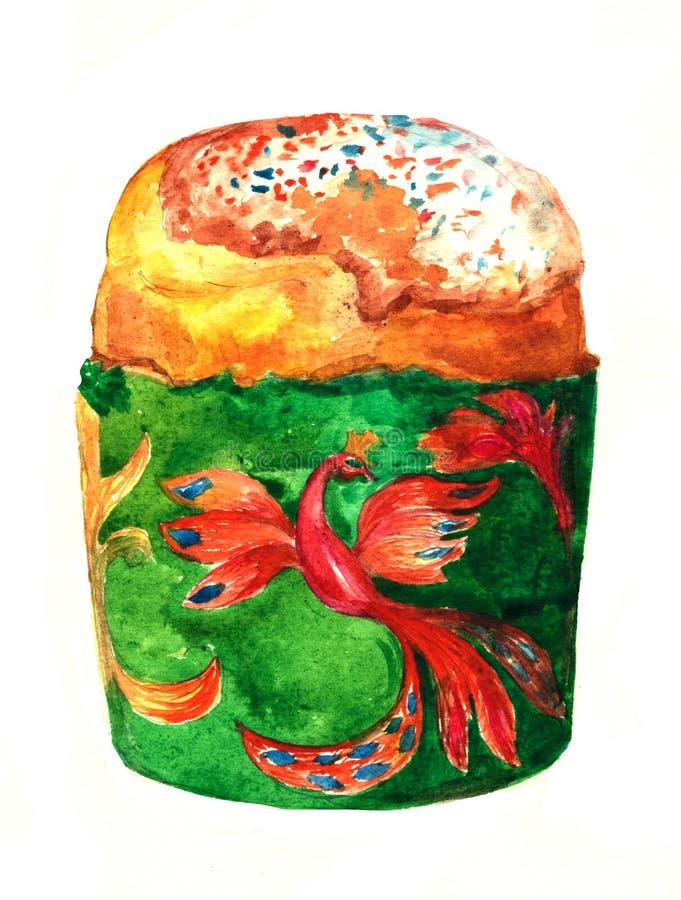 Hand-dragen vattenfärg för påsk kaka grupper som tecknar spolning för vattenfärg för blomningflodtrees stock illustrationer
