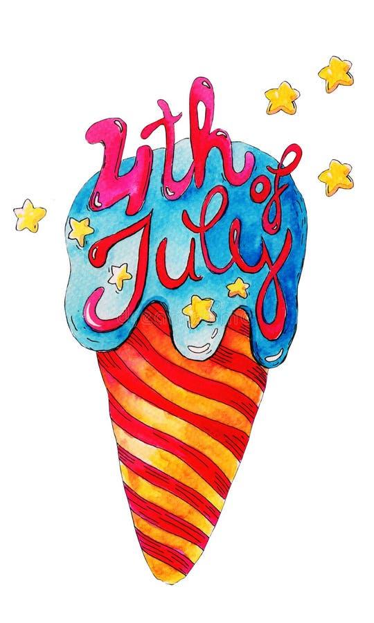 Hand-dragen vattenfärgbeståndsdel för design av vykort på den America's självständighetsdagen royaltyfri illustrationer
