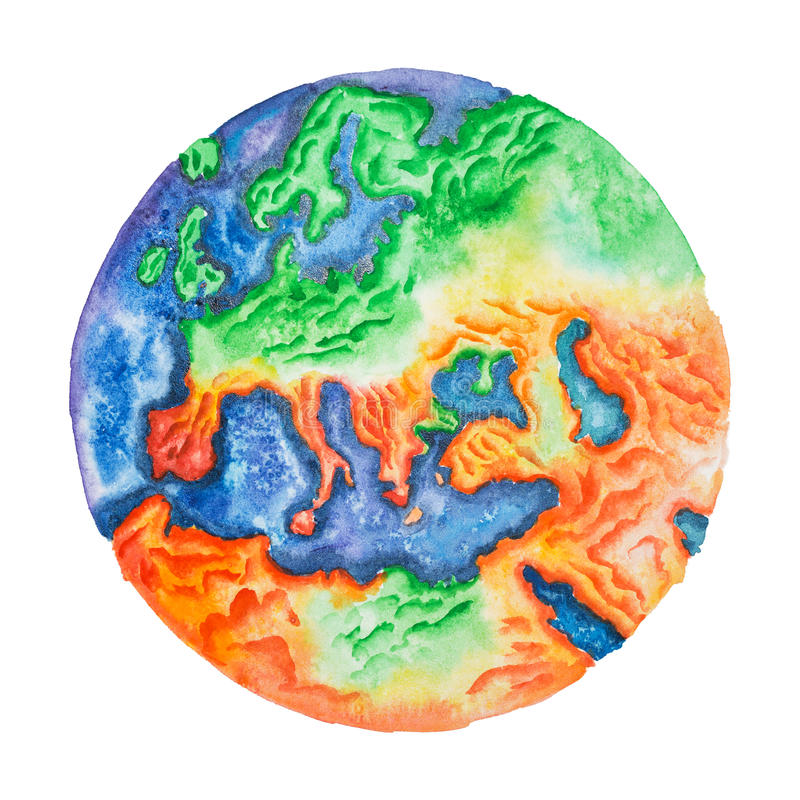 Hand-dragen vattenfärgillustration av den topographic översikten av Europa Sikt till jord från utrymme vektor illustrationer