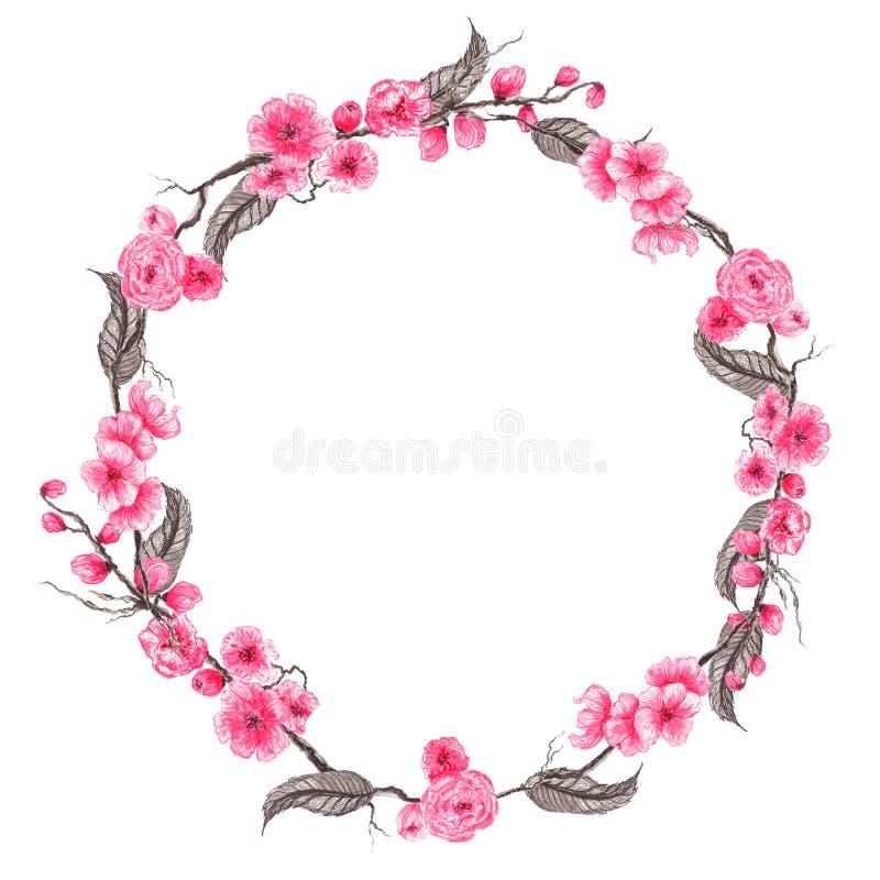 Hand dragen vattenfärgillustration Botanisk krans av att blomma sakura 9 inställda underbara fjädertulpan för mood mångfärgade bi royaltyfri illustrationer