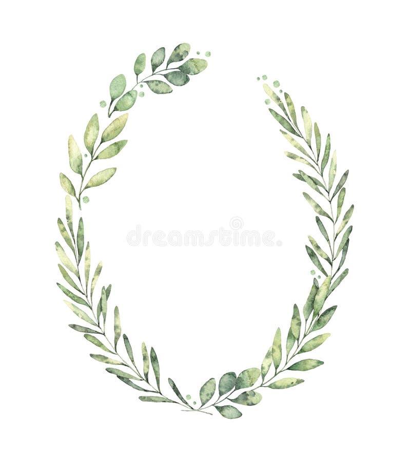 Hand dragen vattenfärgillustration Botanisk krans av grön br royaltyfri illustrationer