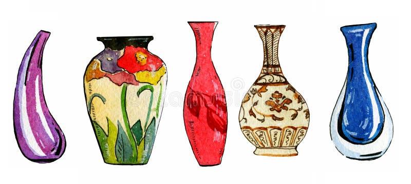 Hand dragen vattenfärgillustrationuppsättning av färgrika stiliserade blommavaser royaltyfri illustrationer