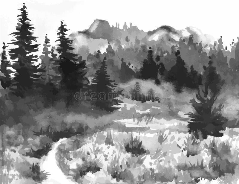 Hand dragen vattenfärgmålning av Forest Landscape taiga royaltyfri illustrationer
