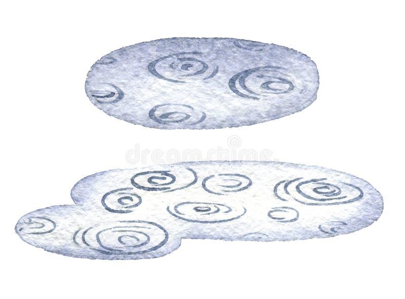 Hand dragen vattenfärgpöl royaltyfri illustrationer