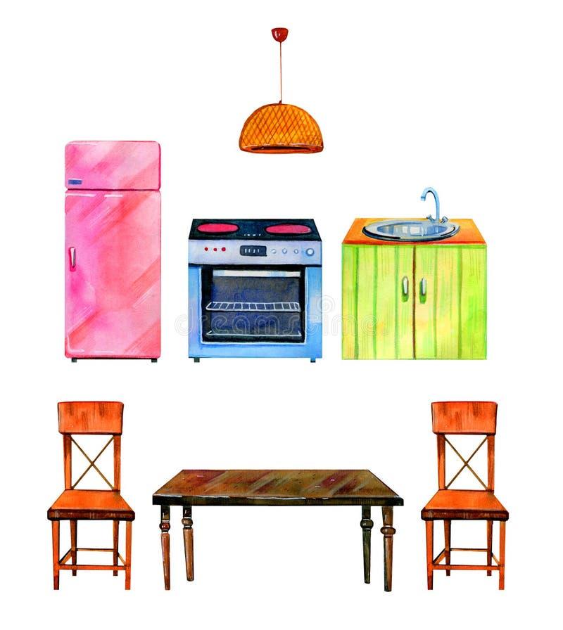 Hand dragen vattenfärguppsättning av den stiliserade kökinre Ugn, refrigirator, tabell och stolar royaltyfri illustrationer