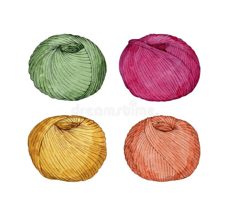 Hand dragen vattenfärguppsättning av färgrika garnnystan royaltyfri illustrationer