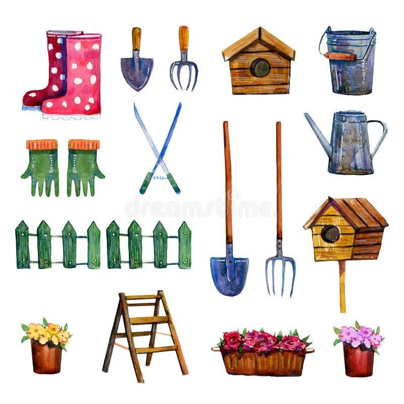 Hand dragen vattenfärguppsättning av isolerade arbeta i trädgården hjälpmedel vektor illustrationer