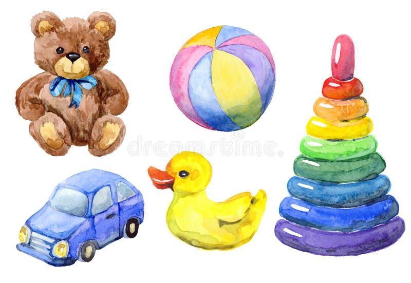 Hand dragen vattenfärguppsättning av leksaker vektor illustrationer
