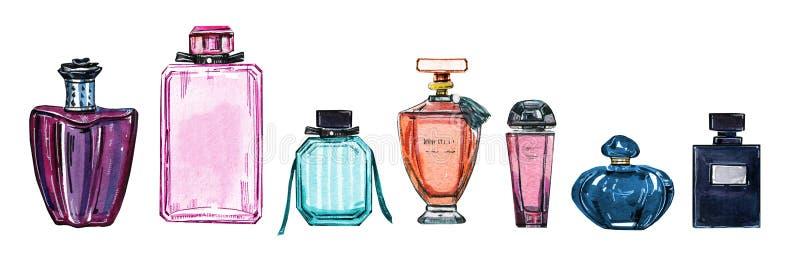 Hand dragen vattenfärguppsättning av olika kvinnadoftflaskor stock illustrationer
