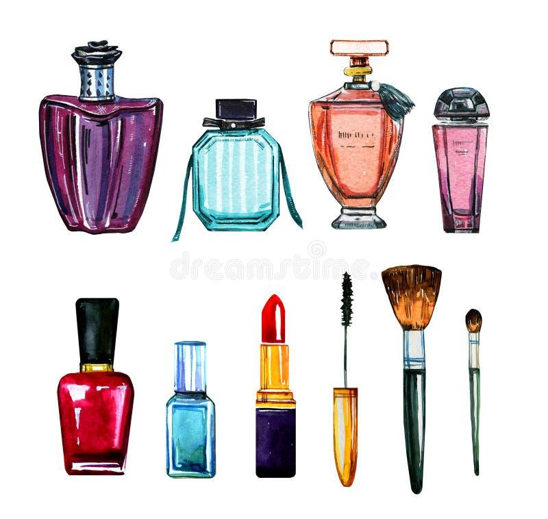 Hand dragen vattenfärguppsättning av olika kvinnadoftflaskor och skönhetsmedel stock illustrationer