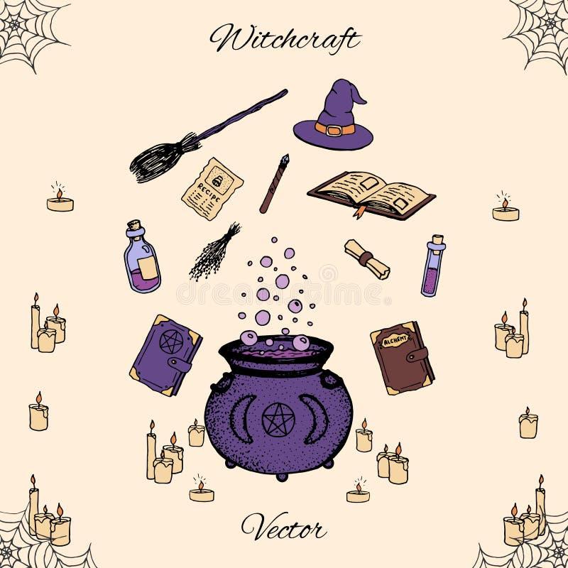 Hand dragen vektorhäxeriuppsättning Inkluderar drycker, örter, böcker, häxor hatt och kvast, stearinljus, trollspöet och kitteln vektor illustrationer