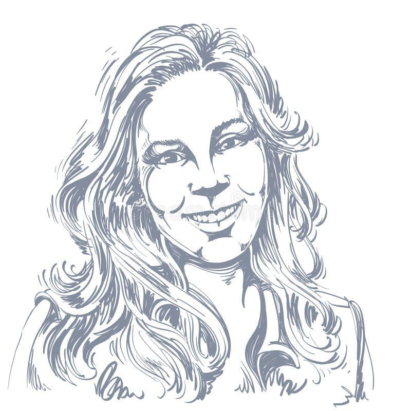 Hand-dragen vektorillustration av den härliga le kvinnan Monoc royaltyfri illustrationer