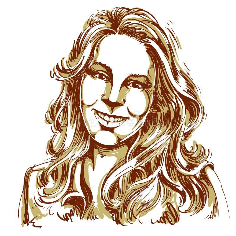Hand-dragen vektorillustration av den härliga le kvinnan Monoc vektor illustrationer