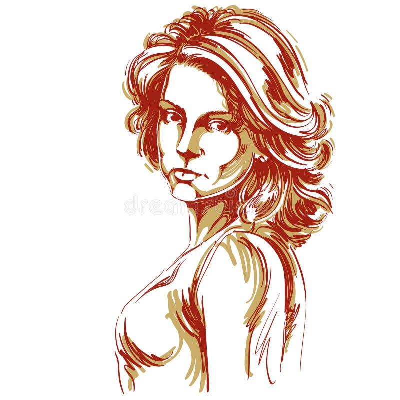 Hand-dragen vektorillustration av den härliga säkra kvinnan Cre stock illustrationer