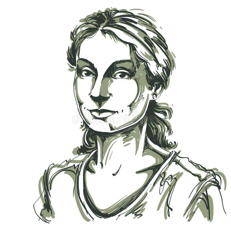 Hand-dragen vektorillustration av den härliga snälla kvinnan Monochro stock illustrationer