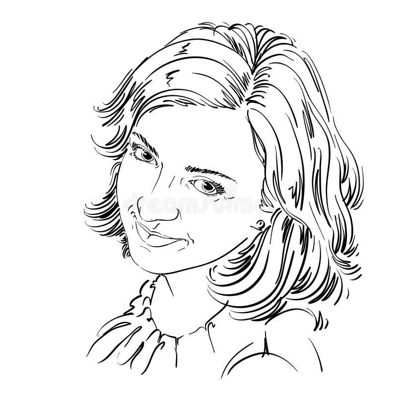 Hand-dragen vektorillustration av härlig lycklig och nöjd wo vektor illustrationer