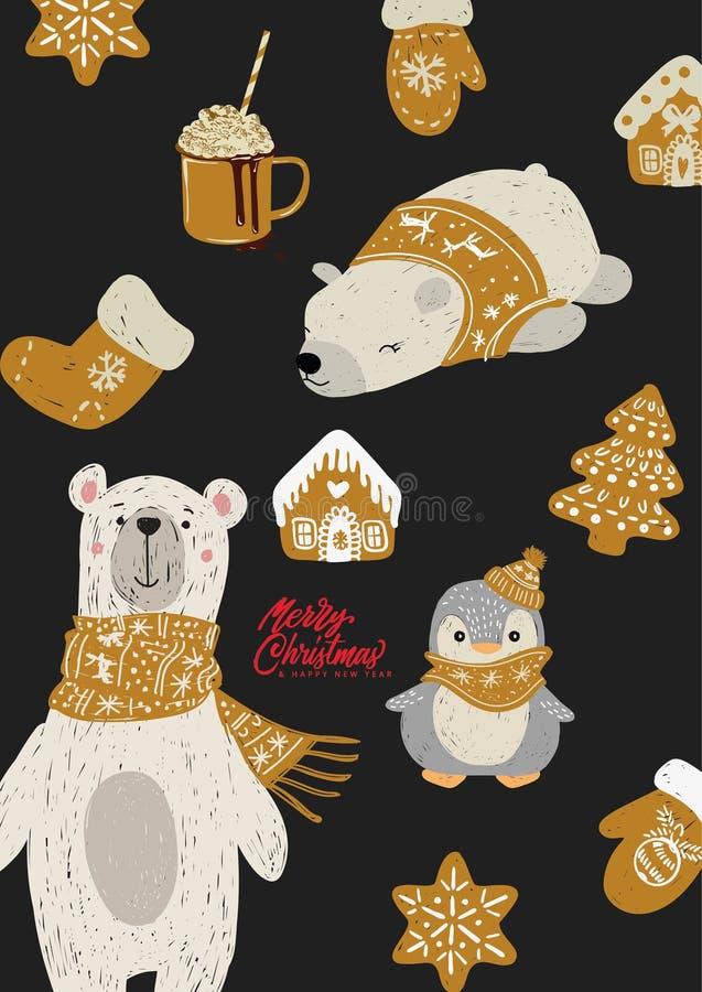 Hand dragen vektorillustration av isbjörnen vektor illustrationer
