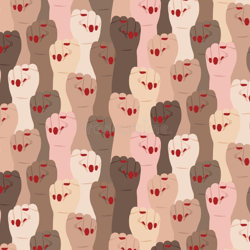 Hand dragen vektorillustration av kvinnahänder med den lyftta upp grep hårt om nävemodellen Flickamakt Kvinnlig revolution vektor illustrationer
